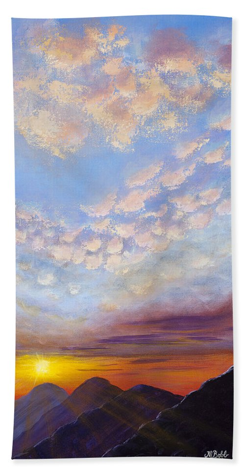 Landscape Bath Sheet featuring the painting Western Sunset by Margaret Bobb