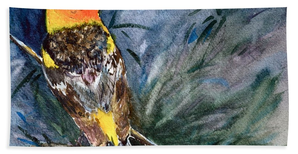 Western Tanager Bath Sheet featuring the painting Western Tanager At Mt. Falcon Park by Beverley Harper Tinsley