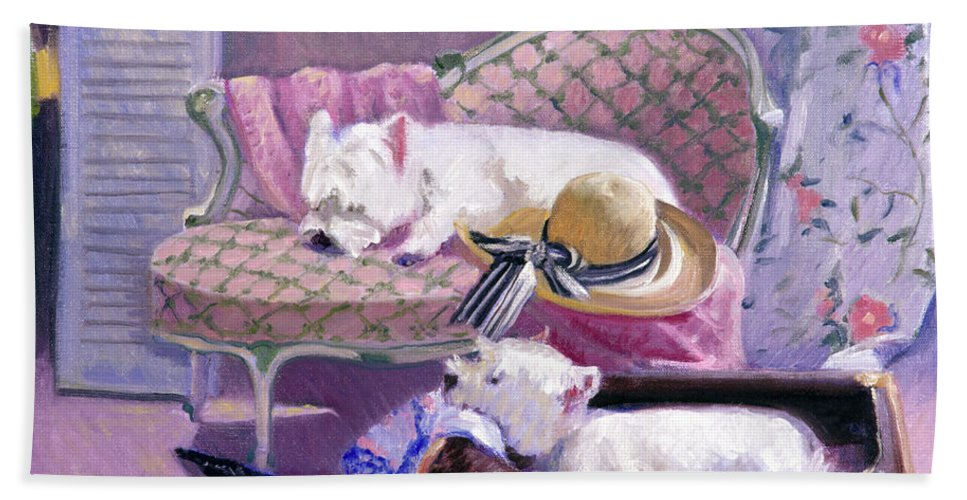 Dogs Bath Sheet featuring the painting Westies Home by Candace Lovely