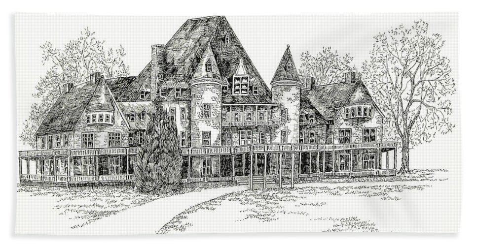 Illustrations Hand Towel featuring the digital art Westover Lynchburg College by Jessica Bryant