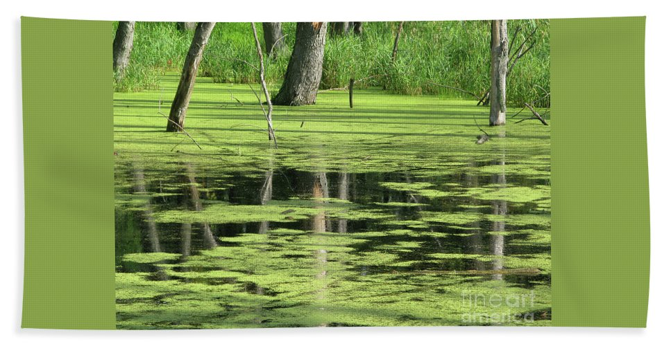 Landscape Bath Towel featuring the photograph Wetland Reflection by Ann Horn