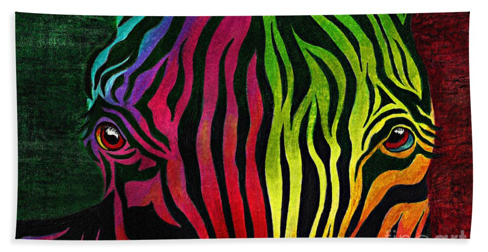 Zebra Bath Sheet featuring the drawing What Are You Looking At by Peter Piatt