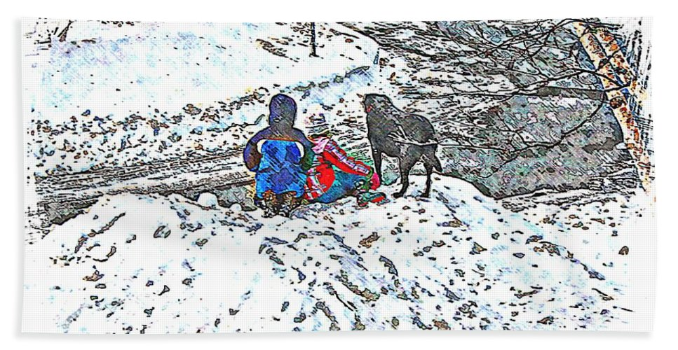 What Fascinates Children And Dogs On A Snow Day Bath Sheet featuring the photograph What Fascinates Children And Dogs - Snow Day - Winter by Barbara Griffin