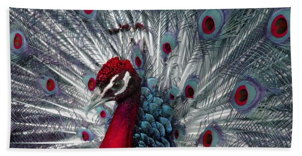 Peacock Hand Towel featuring the photograph What If - A Fanciful Peacock by Ann Horn