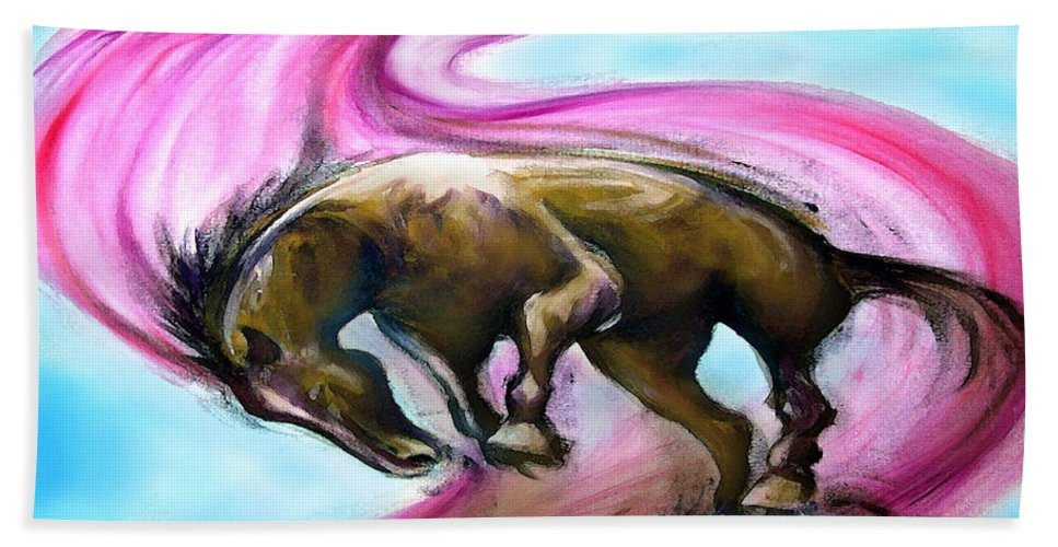 Unicorn Bath Sheet featuring the painting What If... by Kevin Middleton