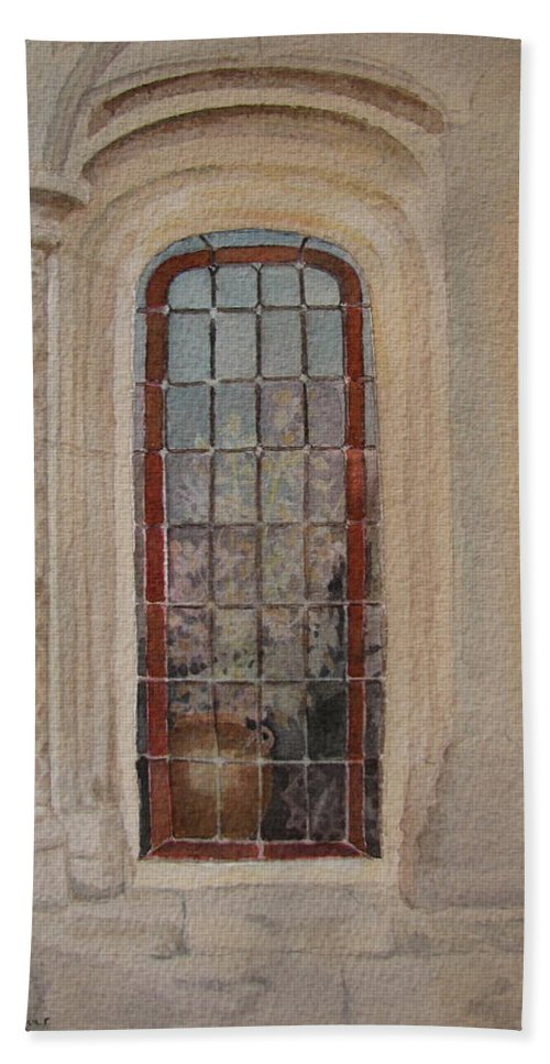 Window Bath Towel featuring the painting What Is Behind The Window Pane by Mary Ellen Mueller Legault