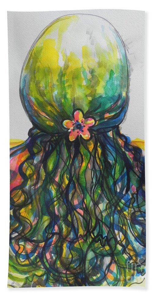 Watercolors Hand Towel featuring the painting What Lies Ahead Series...tangled Up by Chrisann Ellis