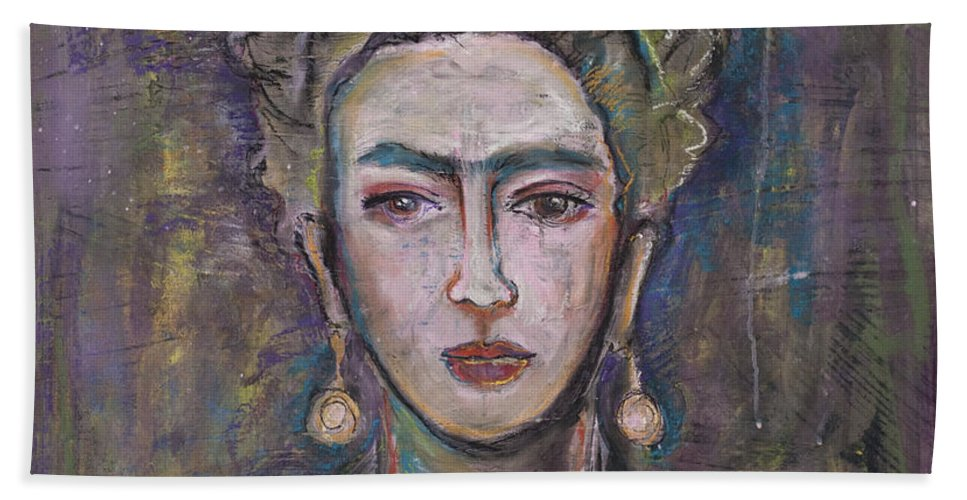 Frida Bath Sheet featuring the painting What. Love For Frida 2013 by Laurie Maves ART
