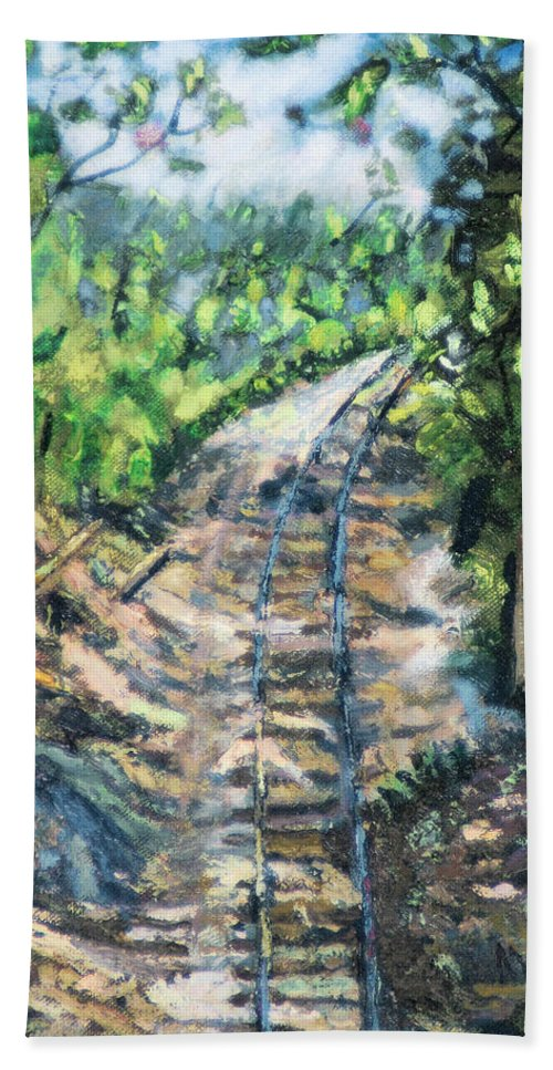 Tree Path Railroad Track Rock Forest Hand Towel featuring the painting What's Around The Bend? by Michael Daniels