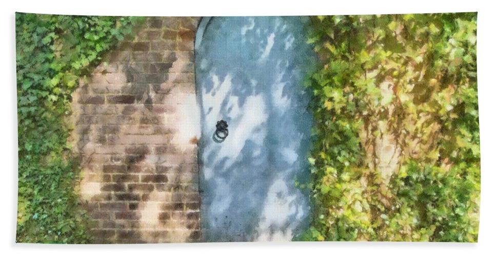 Arch Bath Sheet featuring the mixed media What's Behind The Gate? 2 by Roy Pedersen