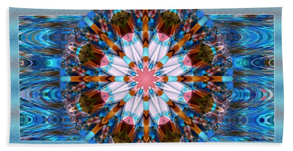 Kaleidoscope Hand Towel featuring the digital art Wheel Kaleidoscope by Mario Carini