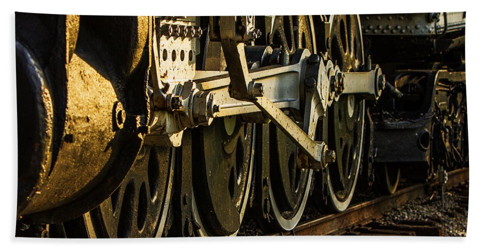Locomotive Hand Towel featuring the photograph Wheels by Diana Powell