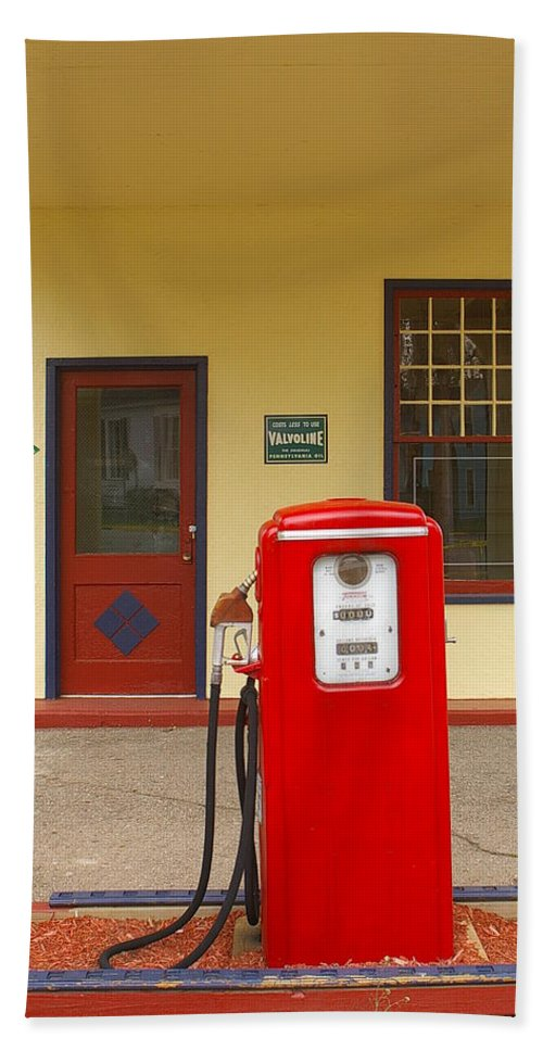 Red Gas Pump Hand Towel featuring the photograph When Gas Was Cheap by Randy Pollard