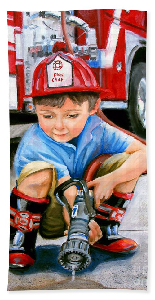 Boy And Fire Truck Bath Towel featuring the painting When I Grow Up by Paul Walsh