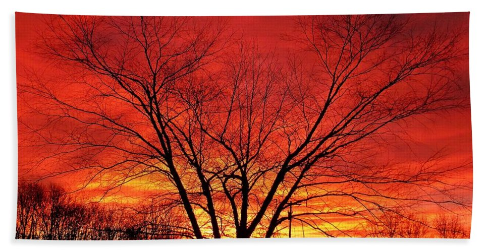 Sunrise Hand Towel featuring the photograph When Morning Guilds The Skies by Christian Mattison
