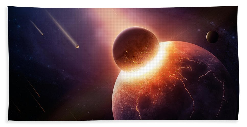 Earth Bath Towel featuring the photograph When Planets Collide by Johan Swanepoel