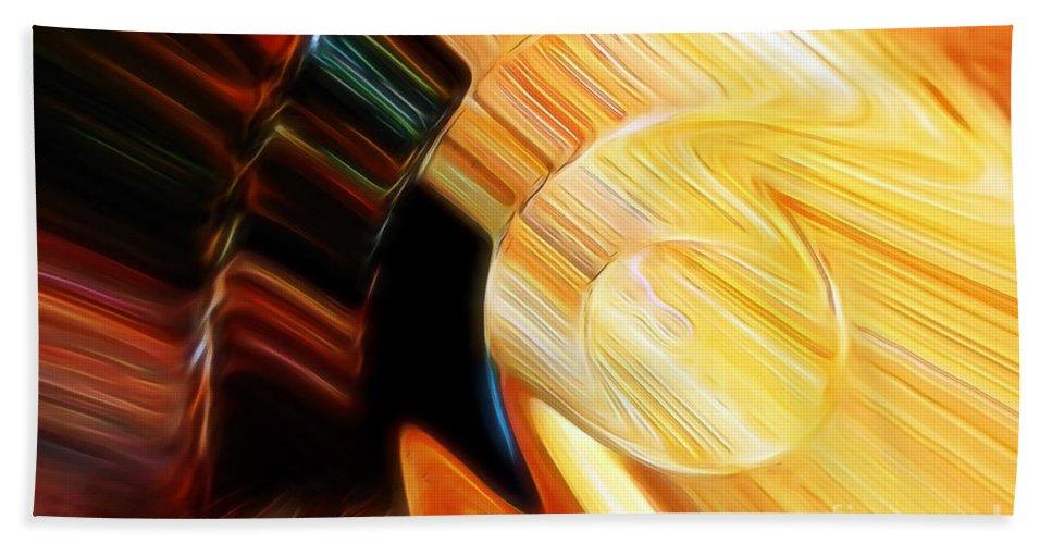 Golden Stone Bath Sheet featuring the digital art When Textures Play by Margie Chapman