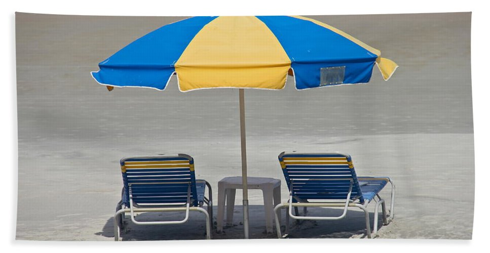 Chair Bath Sheet featuring the photograph Where Are All The Beach Bums? by Denise Mazzocco