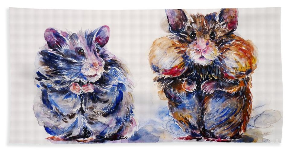 Hamsters Bath Sheet featuring the painting Where Are The Biscuits by Zaira Dzhaubaeva