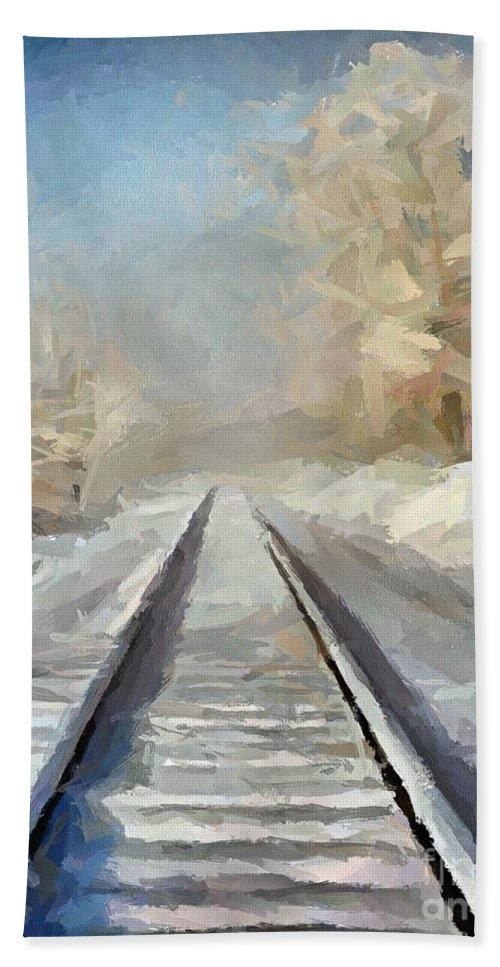 Landscape Hand Towel featuring the painting Where Is The Train by Dragica Micki Fortuna