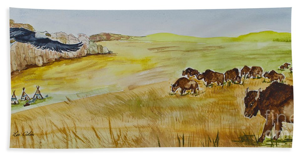 America Bath Sheet featuring the painting Where The Buffalo Roam by Janis Lee Colon