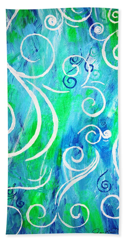Swirls Hand Towel featuring the painting Whimsical By Jan Marvin by Jan Marvin