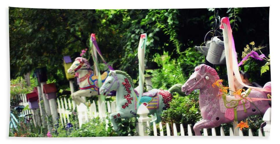Carousel Horse Hand Towel featuring the photograph Whimsical Carousel Horse Fence by Beth Ferris Sale