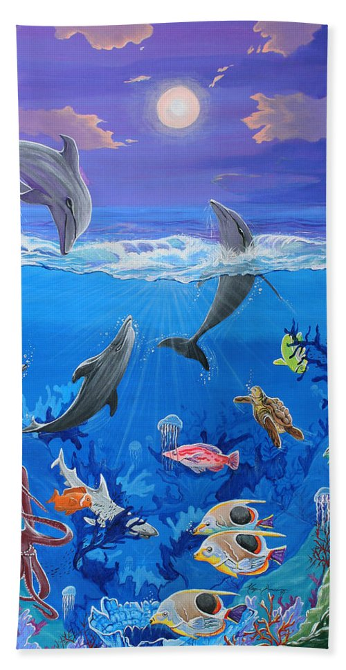 Abstract Bath Sheet featuring the painting Whimsical Original Painting Undersea World Tropical Sea Life Art By Madart by Megan Duncanson