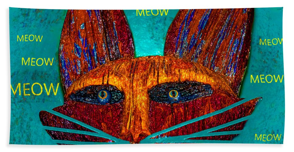 Cat Hand Towel featuring the painting Whiskers Meowing by David Lee Thompson