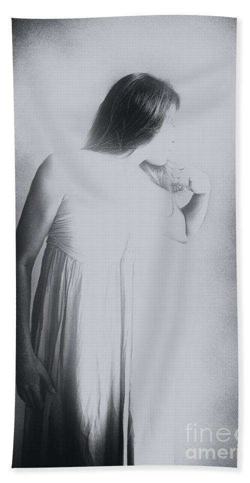 Caucasian; Woman; Lady; Female; Pretty; Beautiful; Brunette; Prim; Proper; Feminine; Grey; Gray; Black; White; Mulled; Out Of Focus; Blur; Blurred; Blurry; Looking Away; Long Hair; Faceless Hand Towel featuring the photograph Whisper by Margie Hurwich