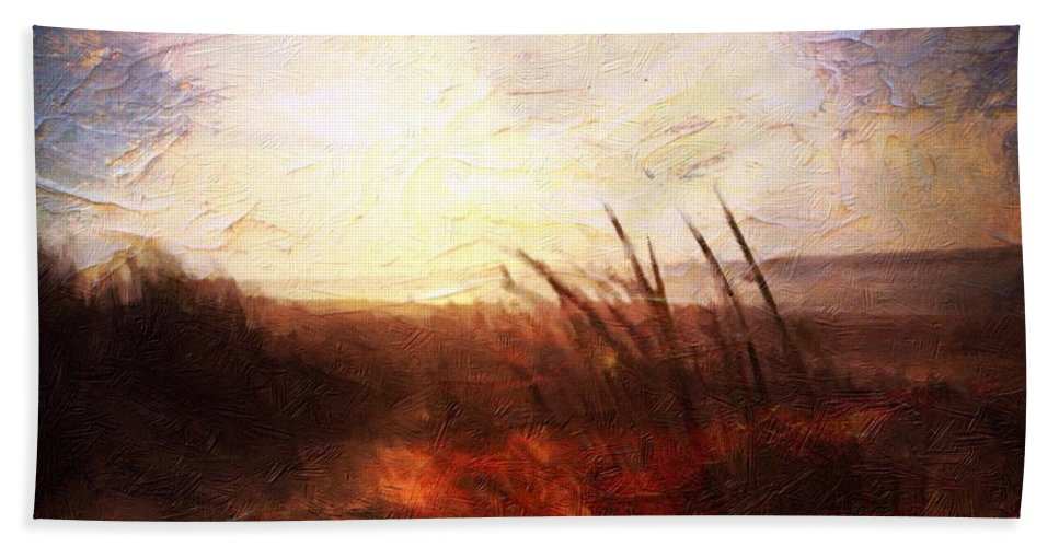 Shores Hand Towel featuring the painting Whispering Shores By M.a by Mark Taylor