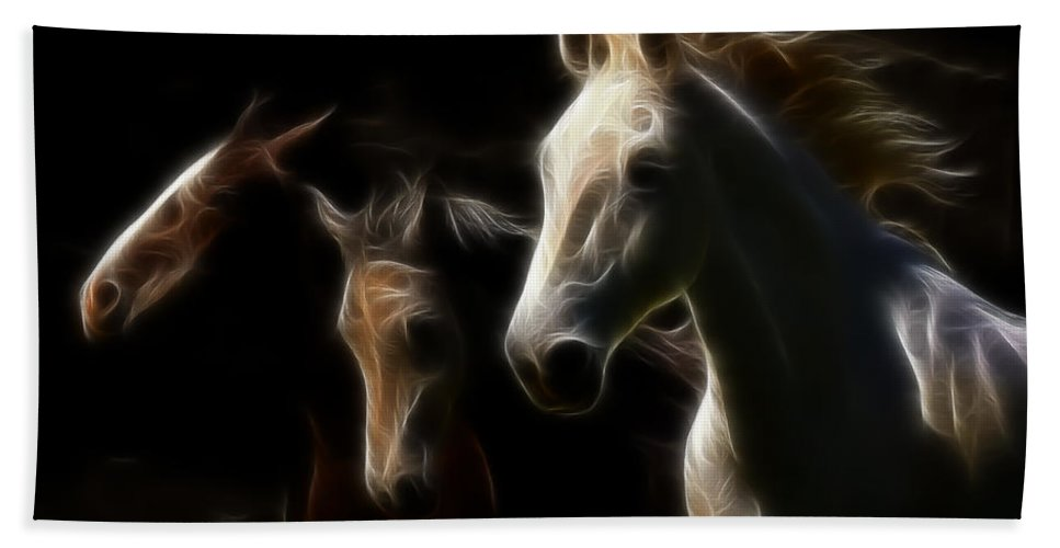 Horses Hand Towel featuring the photograph Whispering Winds by Athena Mckinzie