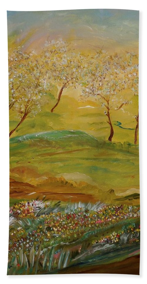Whimsical Landscape Hand Towel featuring the painting Whispers by Sara Credito