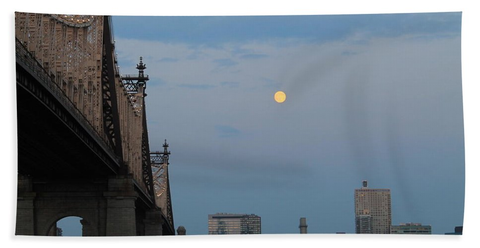 Queensboro Bridge Bath Sheet featuring the photograph Whispy Clouds And A Moon by Catie Canetti