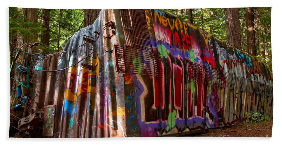 Train Wreck Hand Towel featuring the photograph Whistler Train Wreck by Adam Jewell