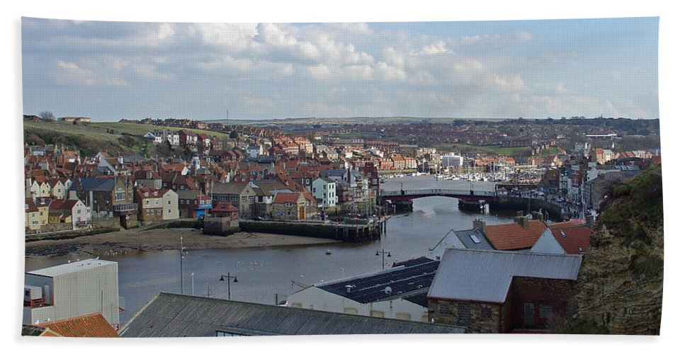 Shadow Hand Towel featuring the photograph Whitby Rooftops by Rod Johnson