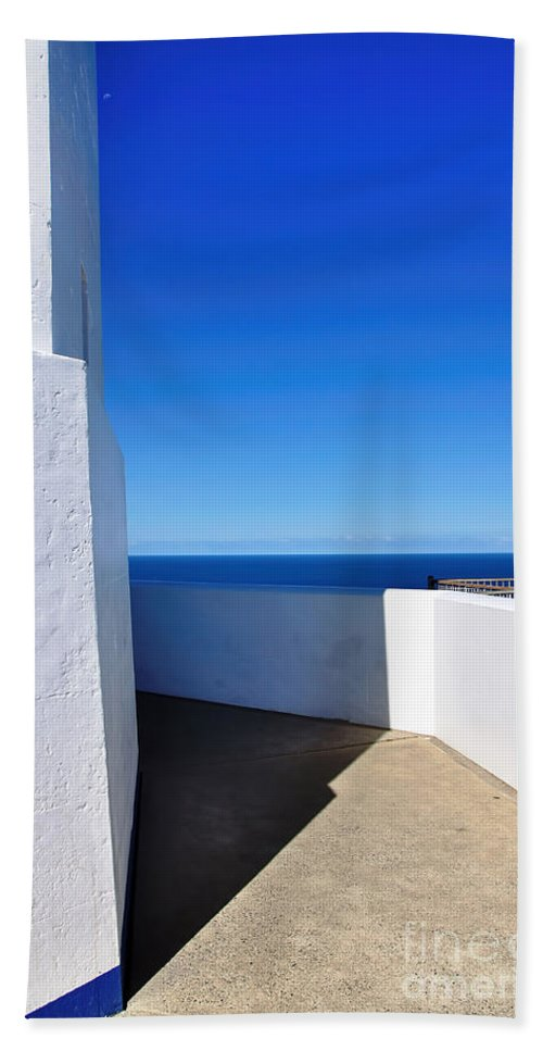 Photography Bath Sheet featuring the photograph White And Blue To Ocean View by Kaye Menner