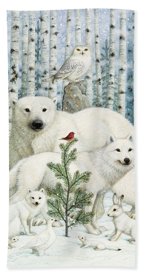 Animals Hand Towel featuring the photograph White Animals Red Bird by Lynn Bywaters