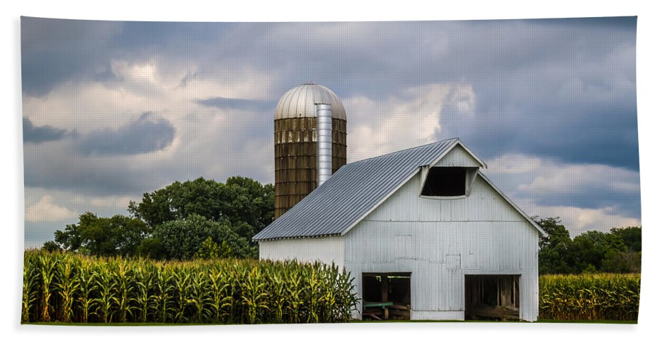 Art Bath Sheet featuring the photograph White Barn And Silo With Storm Clouds by Ron Pate