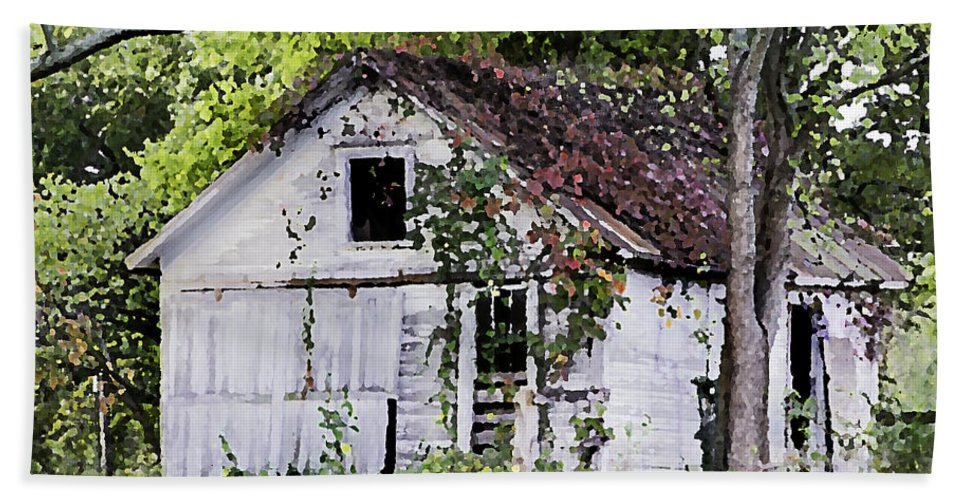 White Hand Towel featuring the photograph White Barn In Autumn by Betty Denise