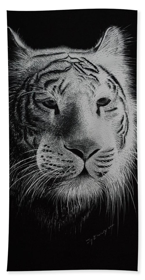 Greeting Cards Hand Towel featuring the painting White Bengal Tiger by Joy Bradley