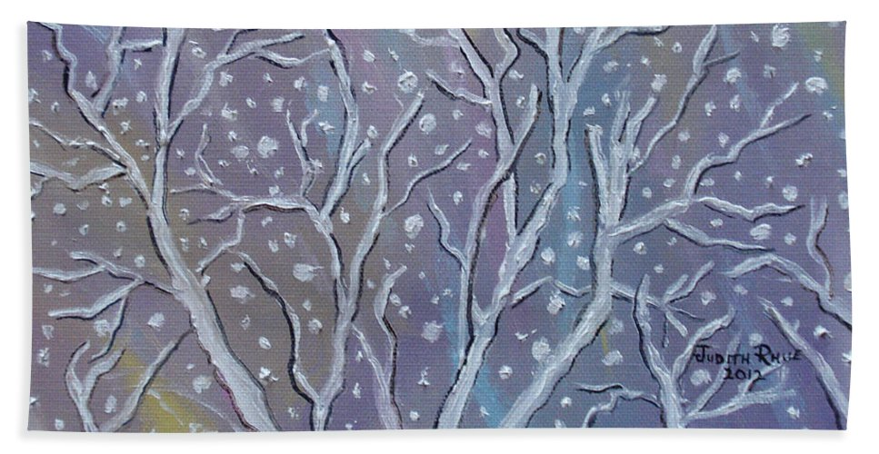 Snow Hand Towel featuring the painting White Branches by Judith Rhue