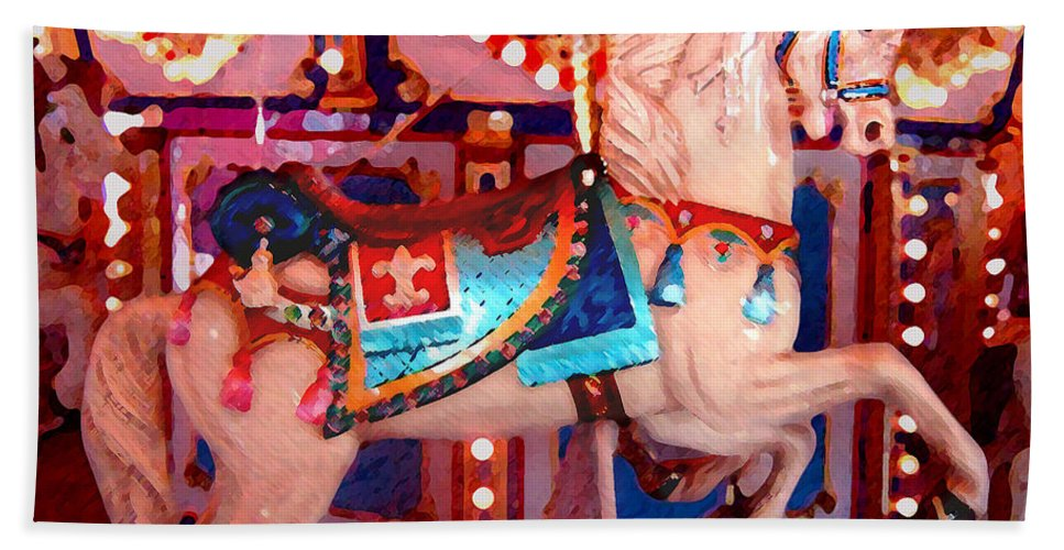 Horses Bath Sheet featuring the painting White Carousel Horse by Amy Vangsgard