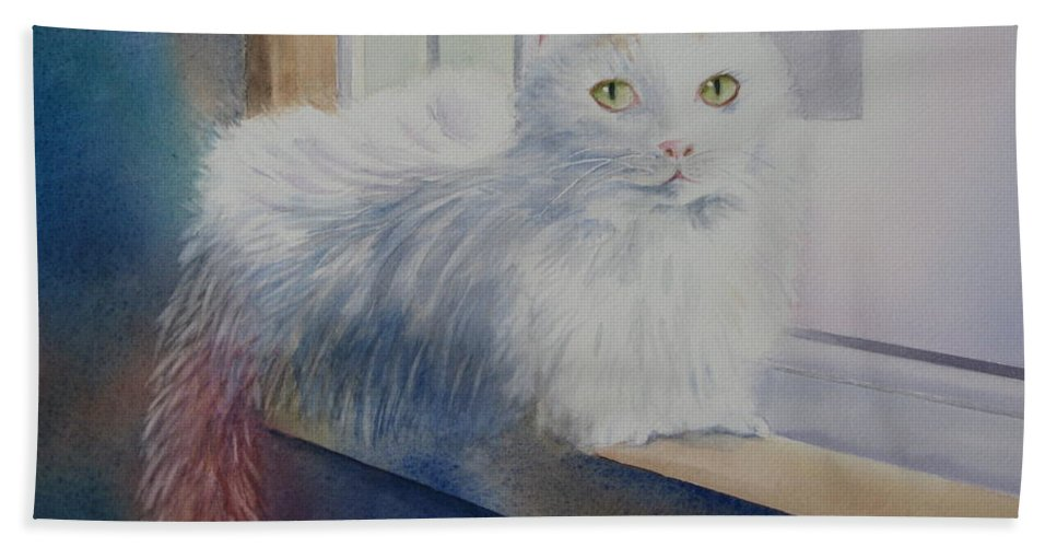 Cat Bath Sheet featuring the painting White Cat by Deborah Ronglien