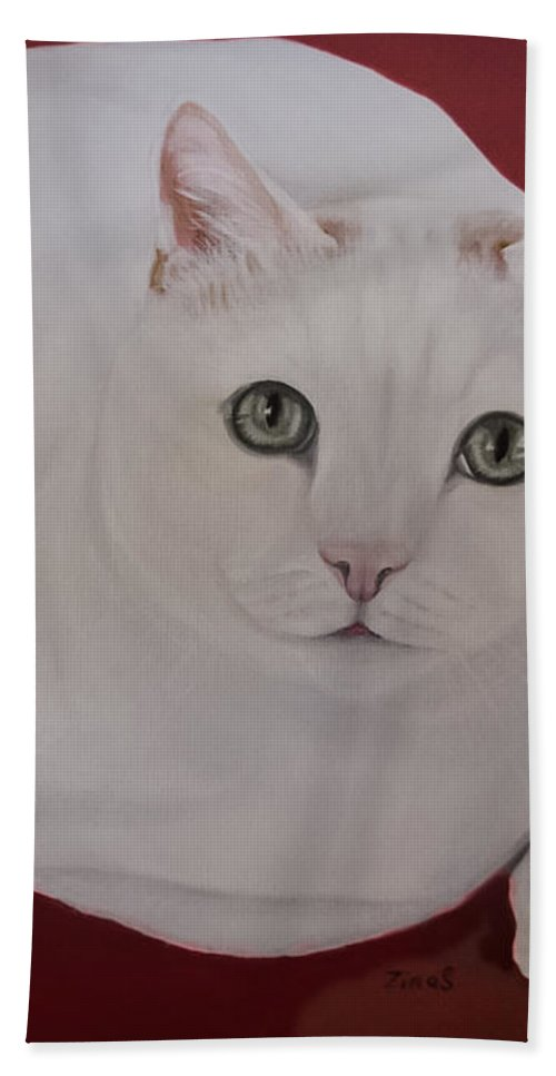 White Cat Hand Towel featuring the painting White Cat by Zina Stromberg