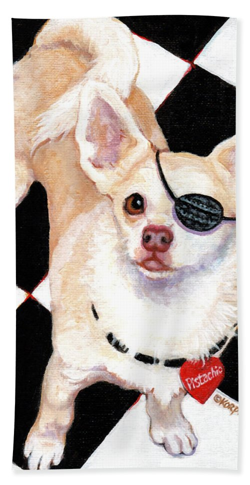 White Chihuahua Hand Towel featuring the painting White Chihuahua - Pistachio by Rebecca Korpita