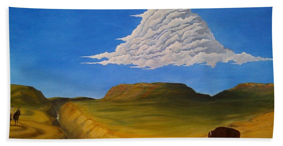 John Lyes Hand Towel featuring the painting White Cloud by John Lyes