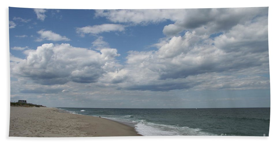 Clouds Hand Towel featuring the photograph White Clouds Over The Ocean by Christiane Schulze Art And Photography