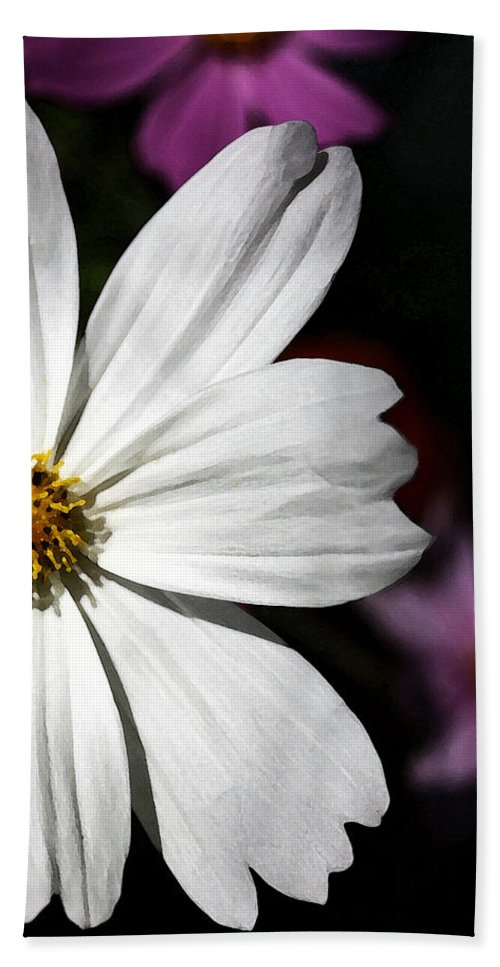 White Bath Sheet featuring the photograph White Coreopsis by Susan McMenamin