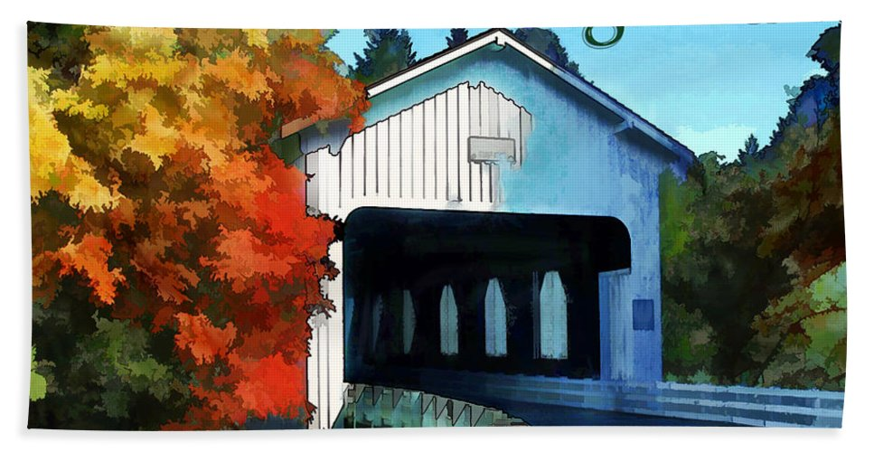 Vermont New+england Fall Autumn Leaves Colored Covered+bridge Bridge Road Rural Hand Towel featuring the painting White Covered Bridge Colorful Autumn New England by Elaine Plesser